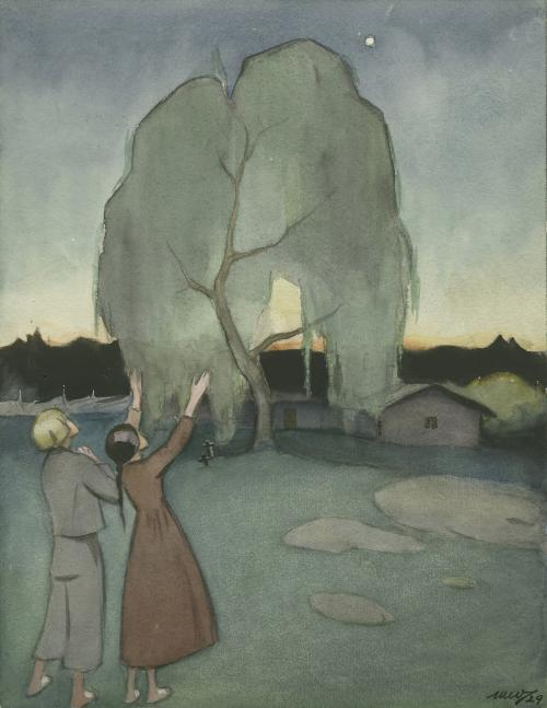 Martta Wendelin, Koivu ja tähti, Topeliuksen sadun kuvitus, akvarelli 1927, Amerin Kulttuurisäätiö