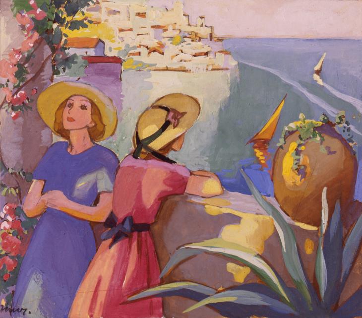 Martta Wendelin, kuvitus Anni Swanin Sara ja Sarri matkustavat -kirjan kanteen. Kuva Tuusulan taidemuseo