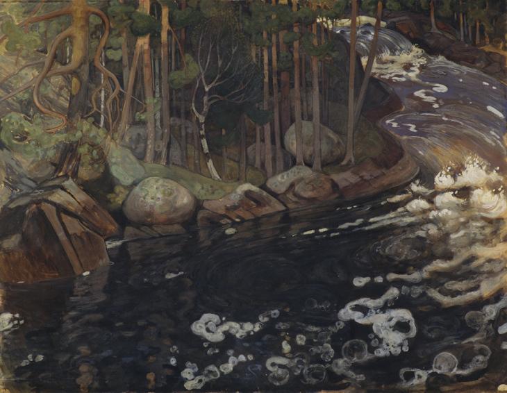 Pekka Halonen, Koski, 1900 tempera, yksityiskokoelma. Kuva Matti Ruotsalainen