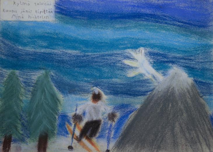 4 Kylmä talvisää, kaunis jänis kipittää, minä hiihtelen. Mikko Rintamäki