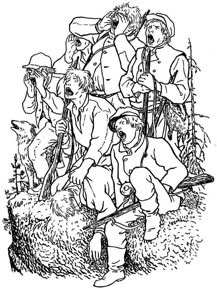 Erkki Tanttu, Seitsemän veljestä kirjan kuvitus Veljekset hiidenkivellä 1961